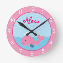 Little Pink Whale Personalized Nursery Wall Clock