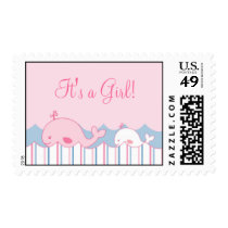 Little Pink Whale Personalized Postage Stamps