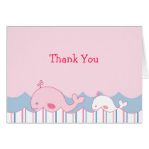 Little Pink Whale Thank You Note Cards