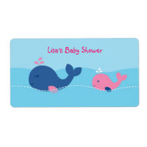 Little Pink Whale Water Bottle Stickers Labels