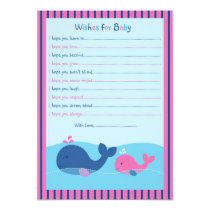 Little Pink Whale Wishes for Baby Advice Cards