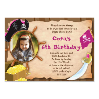 Little Pirate Invitation - Girls - with Photo