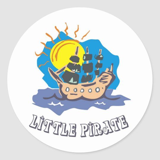 Little pirate toddler on a sailboat on the sea classic round sticker