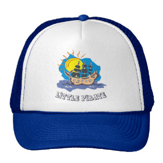 Little pirate toddler on a sailboat on the sea trucker hats