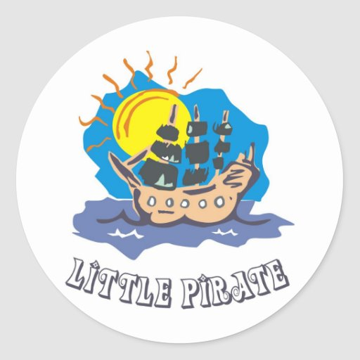 Little pirate toddler on a sailboat on the sea sticker