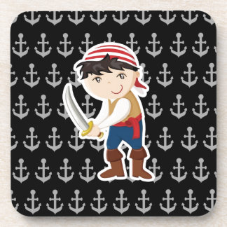 Little pirate with anchor coaster