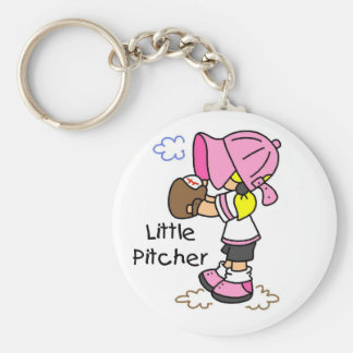Little Pitcher Girls Baseball Tshirts and Gifts Keychain