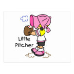 Little Pitcher Girls Baseball Tshirts and Gifts Postcards