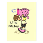Little Pitcher Girls Baseball Tshirts and Gifts Post Card
