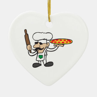 LITTLE PIZZA GUY Double-Sided HEART CERAMIC CHRISTMAS ORNAMENT