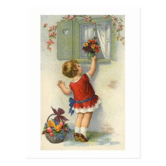 Little places flower bouquet on window sill - a vi postcard