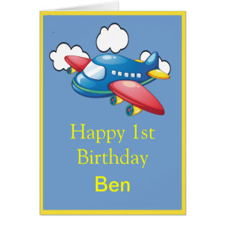 Little Plane in Clouds 1st Birthday Greeting Card