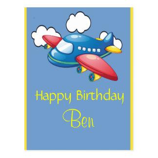 Little Plane in Clouds 1st Birthday Postcard