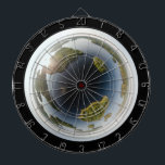 """Little planet lake dart board<br><div class=""""desc"""">Little planet made of a spherical panorama of a lake landscape. Fully customizable.</div>"""