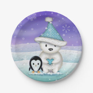 Little Polar Bear and Penguin Holiday Plates 7 Inch Paper Plate