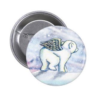 Little Polar Bear Cub Angel Pinback Button