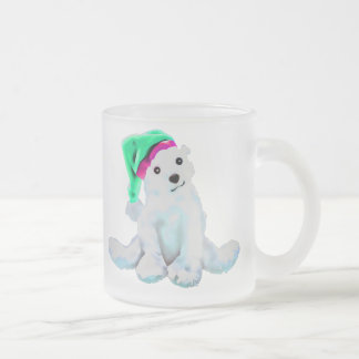 Little Polar Bear Illustration by Leslie Harlow Frosted Glass Coffee Mug