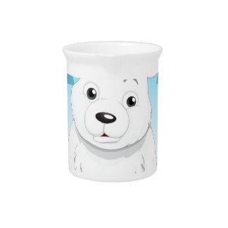 Little polar bear sitting on ice beverage pitcher