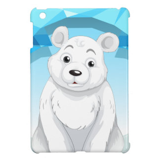 Little polar bear sitting on ice case for the iPad mini