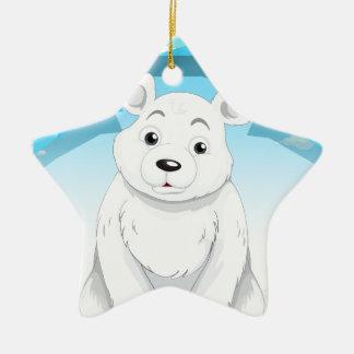 Little polar bear sitting on ice ceramic ornament
