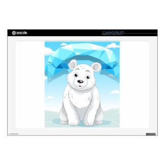 Little polar bear sitting on ice decal for laptop