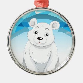 Little polar bear sitting on ice metal ornament