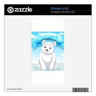 Little polar bear sitting on ice skins for iPhone 4