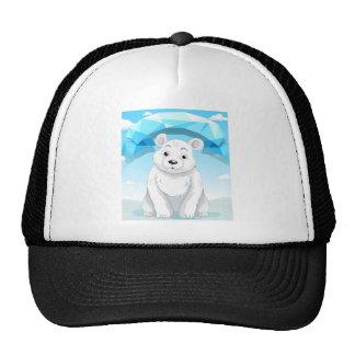 Little polar bear sitting on ice trucker hat