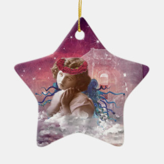 Little Praying Angel Double-Sided Star Ceramic Christmas Ornament