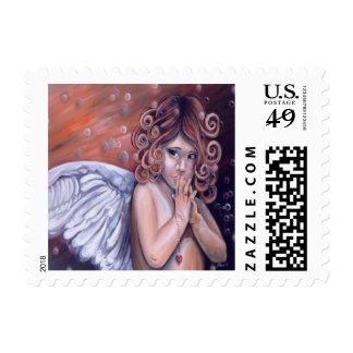 Little Praying Angel Postage Stamp