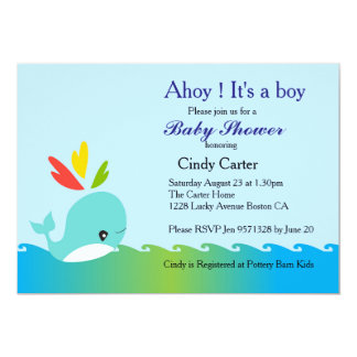 Little Preppy Blue Whale Baby Shower Card