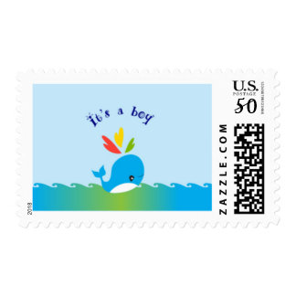 Little Preppy Blue Whale Baby Shower Stamp