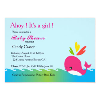 Little Preppy Pink Whale Baby Shower Card