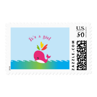 Little Preppy Pink Whale Baby Shower Stamp