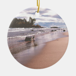 Little Presque Isle Double-Sided Ceramic Round Christmas Ornament