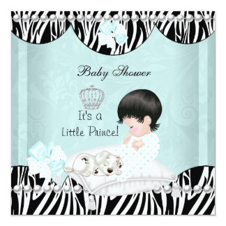 Little Prince Baby Shower baby Boy mint Personalized Invitations