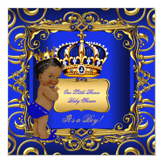 Wonderful Little Prince Baby Shower Blue African American Card