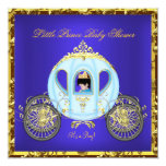 Little Prince Baby Shower Blue Gold Boy Carriage 2 Announcement