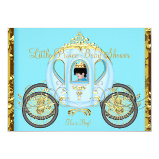 Little Prince Baby Shower Blue Gold Boy Carriage Card