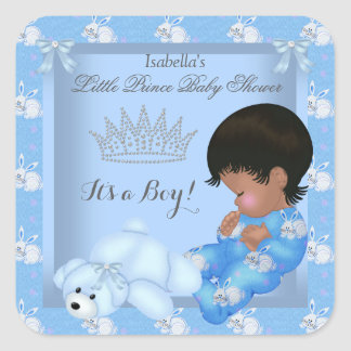Little Prince Baby Shower Boy Blue Bunny AM Square Sticker