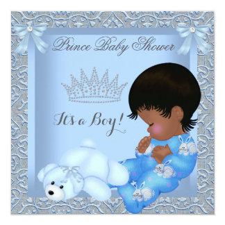 "Little Prince Baby Shower Boy Blue Damask AM 5.25"" Square Invitation Card"