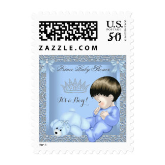 Little Prince Baby Shower Boy Blue Damask Toy 4 Postage