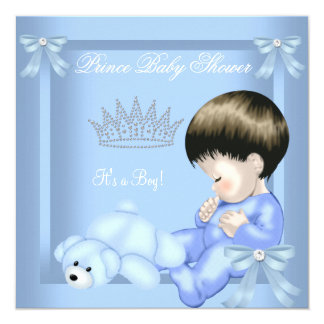Little Prince Baby Shower Boy Blue Toy Bear Card