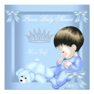 """Little Prince Baby Shower Boy Blue Toy Bear 5.25"""" Square Invitation Card"""