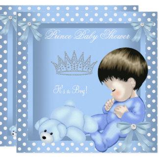 Little Prince Baby Shower Boy Blue White Polka dot Card
