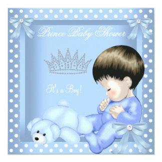 Little Prince Baby Shower Boy Blue White Polka dot 5.25x5.25 Square Paper Invitation Card