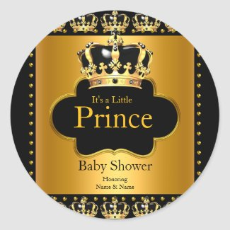 Little Prince Baby Shower Boy Crown Black Gold