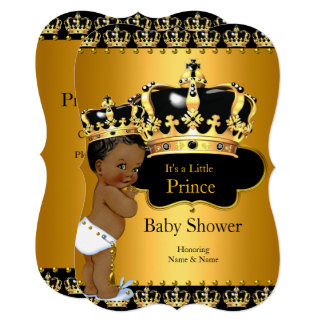 Little Prince Baby Shower Boy Crown Ethnic Card