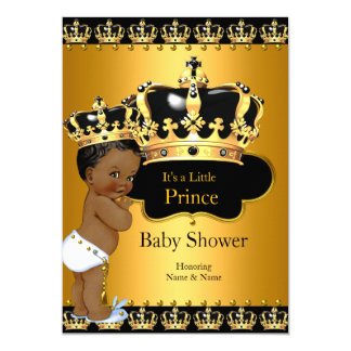 Little Prince Baby Shower Boy Crown Gold Ethnic 5x7 Paper Invitation Card