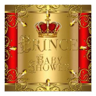 Little Prince Baby Shower Boy Red Gold Crown 5.25x5.25 Square Paper Invitation Card